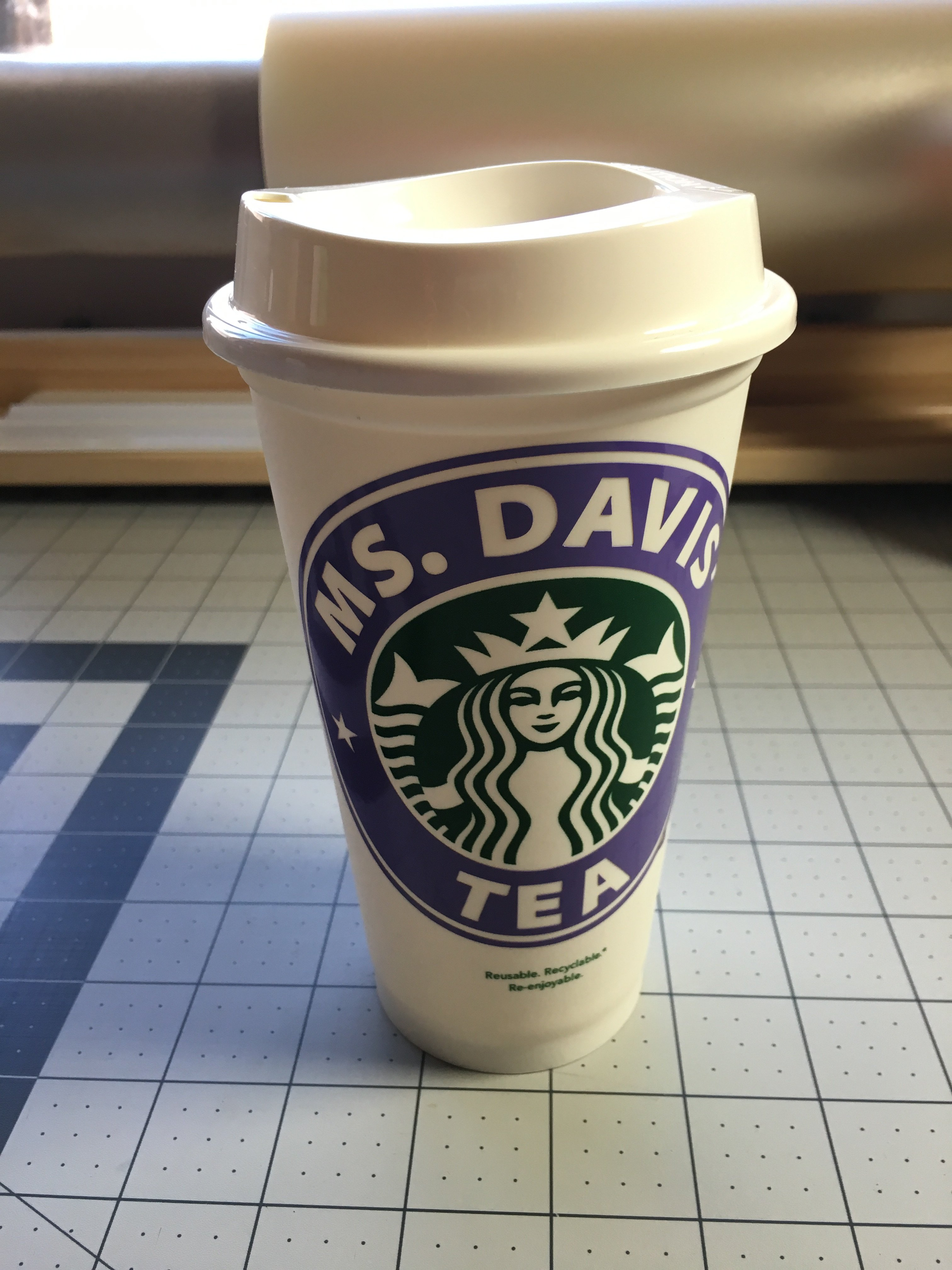 starbucks 16oz reusable cup with custom vinyl