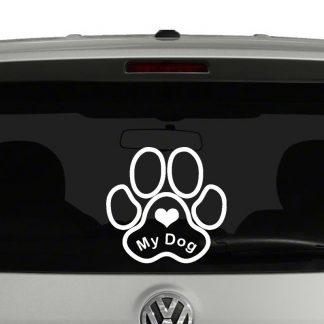 Love My Dog Paw Print Vinyl Decal