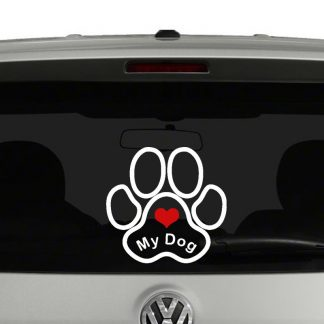Love My Dog Paw Print Vinyl Decal 2 Color