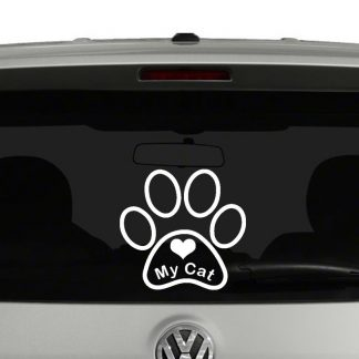 Love My Cat Paw Print Vinyl Decal