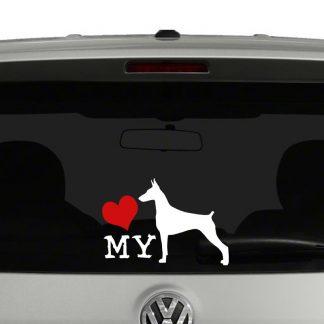 Love My Doberman Dog Sillhouette Vinyl Decal