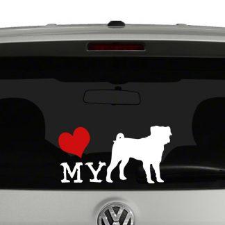 Love My Pug Dog Sillhouette Vinyl Decal