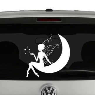 Fairy Sitting on Moon Vinyl Decal Car Window Sticker