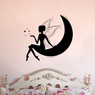 Fairy Sitting on Moon Vinyl Wall Decal