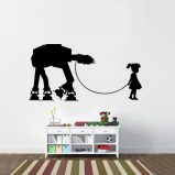 Star Wars Inspired Girl and Her Pet AT-AT Vinyl Wall Decal