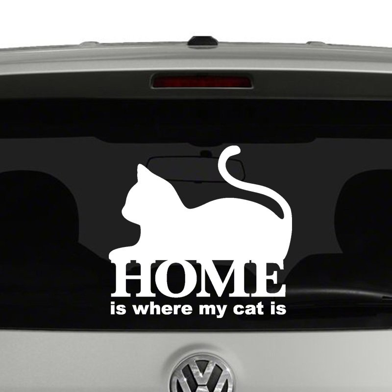 Home Is Where My Cat Is Vinyl Decal Sticker