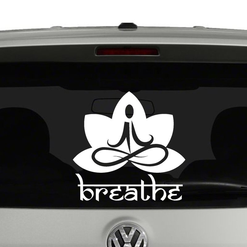 Breathe Sanskrit with Lotus Meditating Vinyl Decal Sticker
