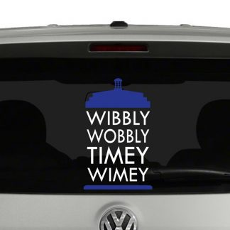 Wobbly Wobbly Timey Wimey Doctor Who Tardis Blue and White Vinyl Decal