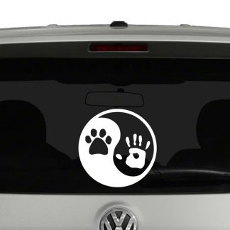 Yin Yang Paw Print and Hand Vinyl Decal Sticker