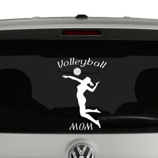 Volleyball Mom Silhouette Vinyl Decal Sticker