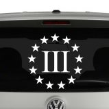 Three Percenter 3% 2nd Amendment Vinyl Decal Sticker
