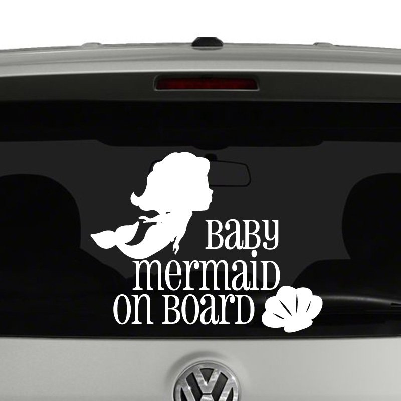Mermaid On Board Vinyl Decal Sticker - Mermaid custom vinyl decals for car