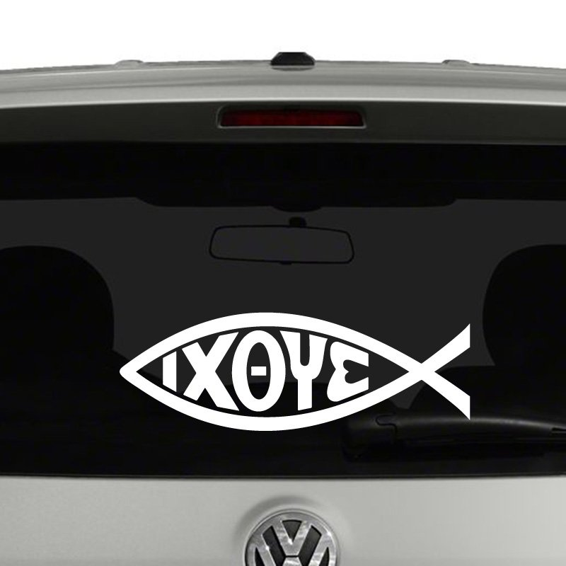 IXOYE Jesus Christian Fish Symbol Vinyl Decal Sticker