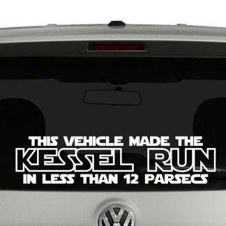This Vehicle Made The Kessel Run Star Wars Vinyl Decal Sticker