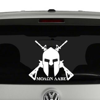 Moon Labe Spartan Helmet AR15 2nd Amendment Vinyl Decal Sticker