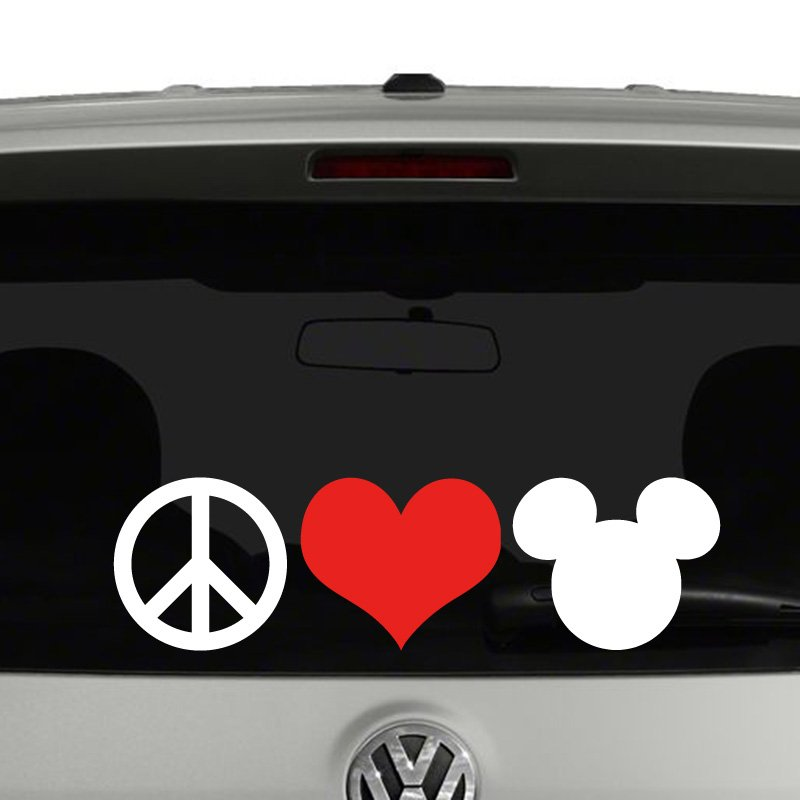 Peace Love Mickey Mouse Disney Vinyl Decal Sticker