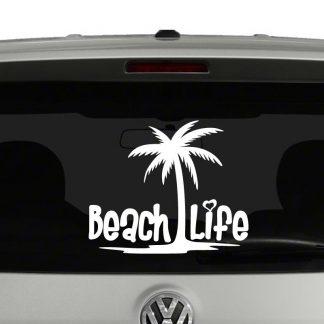 Beach Life Palm Tree Heart Vinyl Decal Sticker