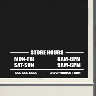 Custom Business Basic Store Hours Sign Vinyl Decal Sticker Window Door