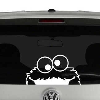 Cookie Monster Peeking Sesame Street Inspired Vinyl Decal Sticker