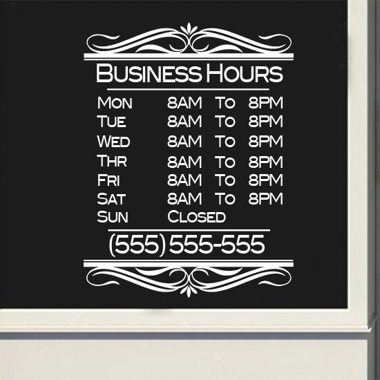 Custom Business Fancy Store Hours Sign Vinyl Decal Sticker Window Door