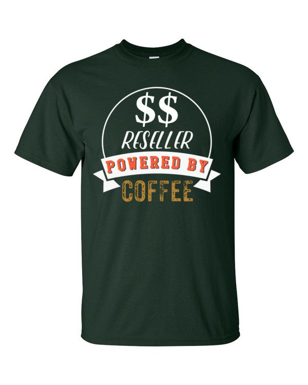 Reseller Powered By Coffee Retro Icon Short Sleeve T-Shirt