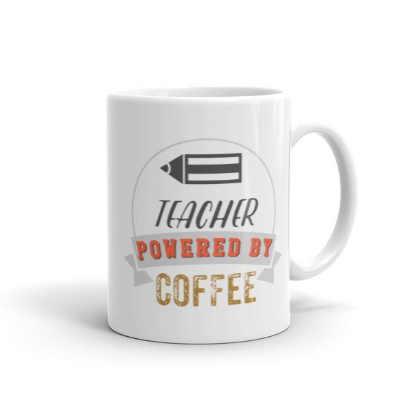 Teacher Powered By Coffee Vintage Log Ceramic Mug