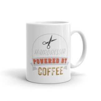 Hairdresser Powered By Coffee Vintage Logo Ceramic Mug