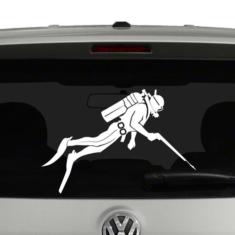 Scuba Diver with Speargun Silhouette Vinyl Decal Sticker