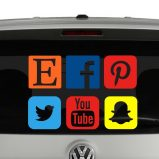 Social Media Icon Pack Vinyl Decal Sticker 6 Popular Icons