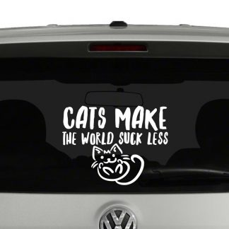 Cats Make The World Suck Less Cat Lovers Vinyl Decal Sticker