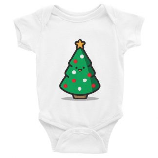 Happy Christmas Tree Graphic Baby Short Sleeve Onesies