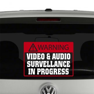 Warning Video and Audio Surveillance In Progress Vinyl Decal Sticker