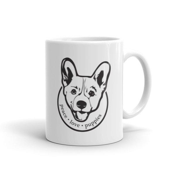 Peace Love Puppies Corgi Dog Lovers Ceramic Mug