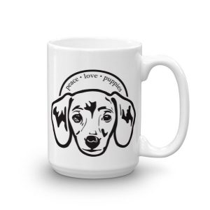 Peace Love Puppies Dachshund Dog Lovers Ceramic Mug