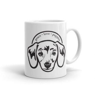 Peace Love Puppies Dachshund Dog Lovers Ceramic Mug
