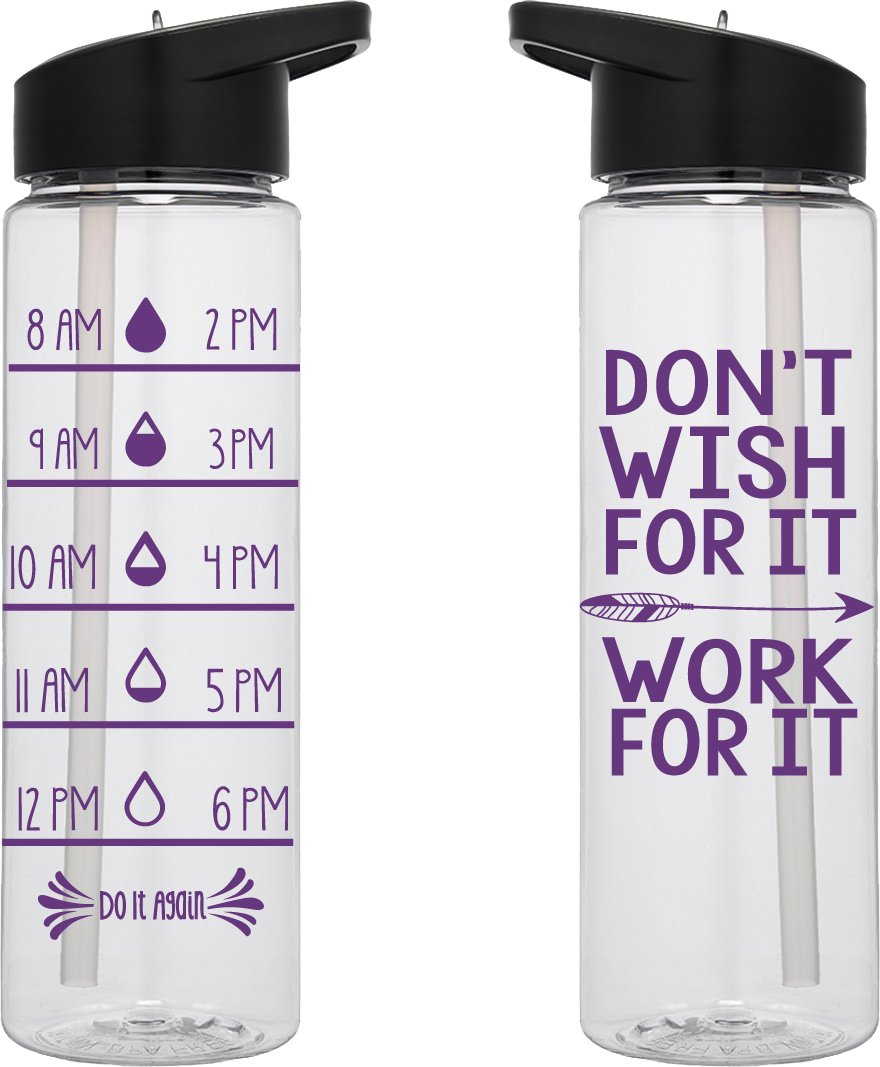 Water Tracker – Don't Wish For It Work For It Sports Water Bottle 24 Oz