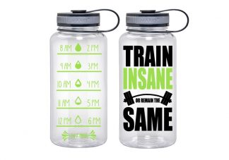 Water Tracker – Train Insane Or Stay The Same Sports Water Bottle 34 Oz