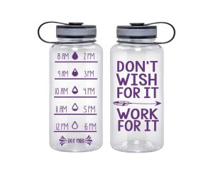 Water Tracker – Don't Wish For It Work For It Sports Water Bottle 34 Oz