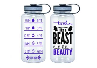 Water Tracker – Train Like A Beast Look Like A Beauty Sports Water Bottle 34 Oz