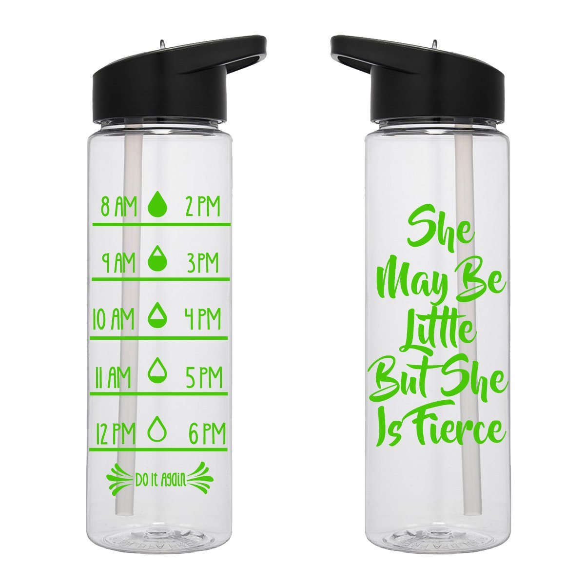 Water Tracker – She May Be Little But She Is Fierce Sports Water Bottle 24 Oz
