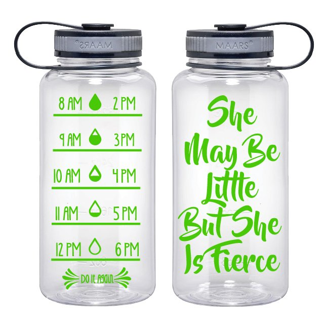 Water Tracker – She May Be Little But She Is Fierce Sports Water Bottle 34 Oz