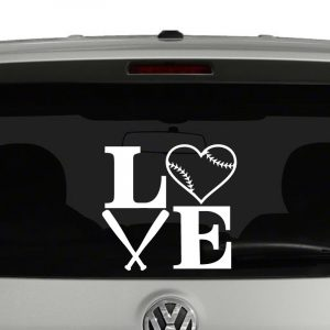 Love Baseball with Bats and Baseball Vinyl Decal Sticker