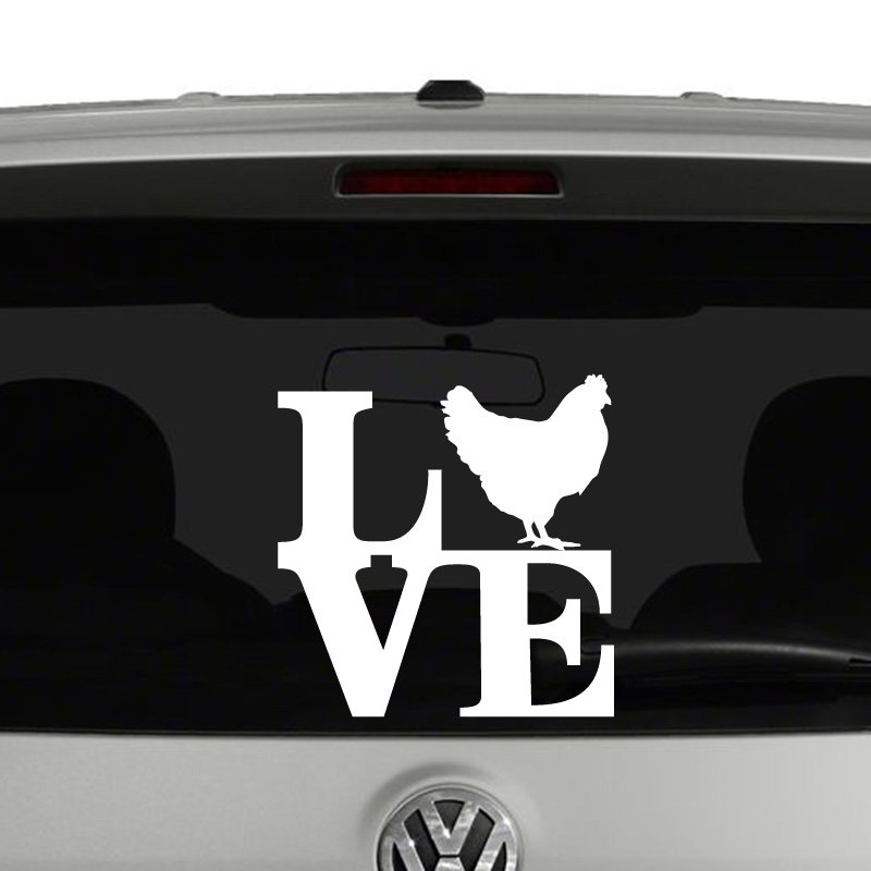 Love Chickens Chicken Silhouette Vinyl Decal Sticker