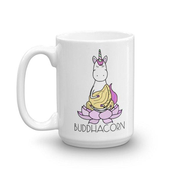Buddhacorn Meditating Unicorn Monk in Lotus Yoga Coffee Mug