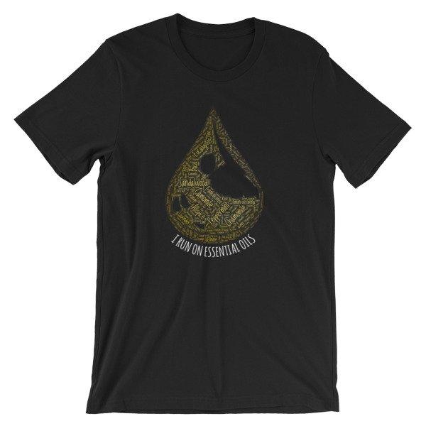 I Run On Essential Oils Word Cloud Oil Drop T-Shirt