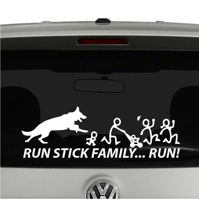 German Shepherd Chasing Stick Figure Family. Run Stick Family Vinyl Decal