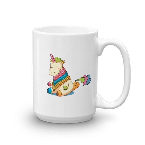 Cute Unicorn Farting Rainbow Clouds Funny Unicorn Mug