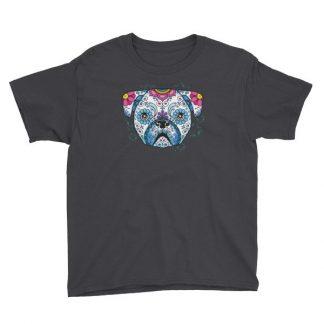Pug Sugar Skull Day of The Dead Pug Dog Lovers Youth Short Sleeve T-Shirt