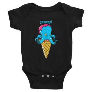 Yummy Octopus Ice Cream Cone Funny Sea Life Infant Bodysuit