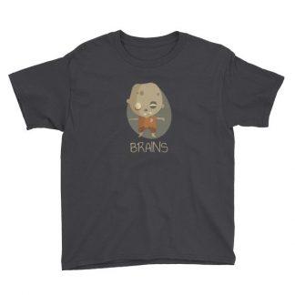 Zombie Brains Cute Funny Creepy Halloween Youth Short Sleeve T-Shirt